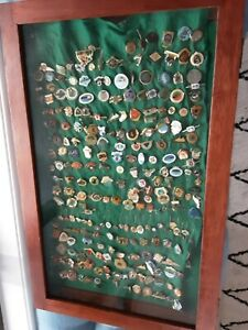 Display Cabinet for Collectibles and collection of Lawn Bowls Clubs Pins
