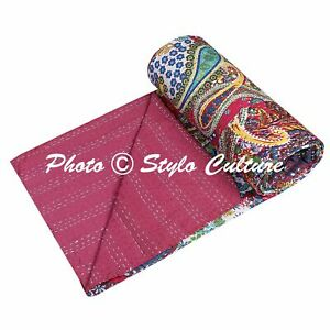 Paisley Reversible Indian Bedding Quilt Cover Kantha Bedspread Coverlet Throw