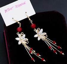 Red flower tassel Drop Earring Jewel New Betsey Johnson Rare Alloy Rhinestone
