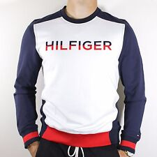 NWT Tommy Hilfiger  Navy & White Sweatshirt Pullover Spelled Out Logo Size M
