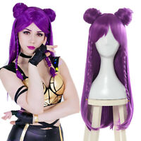 LOL KDA Kaisa Daughter of the Void Cosplay Wig Long Purple Hair Bun Straight Wig