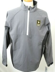 New United States ARMY US Gray Half Zip Embroidered Pull Over Jacket Men's L