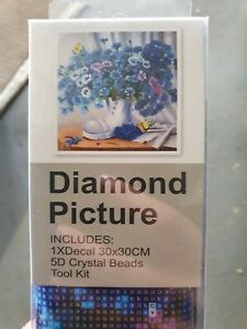 Blue Flowers in Boot -  5D Diamond Painting Art DIY Kits New - 30 by 30cm