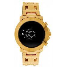 Softech Men's Jump Hour Disk Display Rose Gold Black Face Watch Analog Quartz