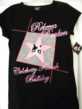 Rebecca BonBon Black Pink French Bulldog T-shirt Medium Girls Junior