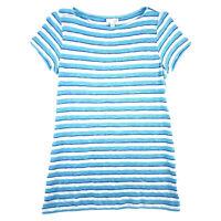 J. Jill Blue White Stripe Linen Blend Longer Length Short Sleeve Shirt X-Small