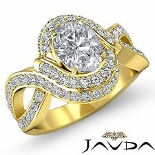 Oval Diamond Antique Engagement Halo Pave Ring GIA I SI1 18k Yellow Gold 2.5ct