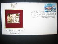 1997 THE WORLD OF DINOSAURS CAMARASAURUS 22kt Gold GOLDEN Cover replica STAMP
