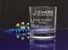 Personalised THE FAMOUS GROUSE HAPPY BIRTHDAY Engraved Whisky/Tumbler Glass79