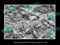OLD LARGE HISTORIC PHOTO OF CHERTSEY SURREY ENGLAND, AERIAL VIEW OF TOWN c1930 2