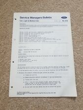 Genuine Ford Granada,Escort ,Cortina,Fiesta Service Managers Bulletin 1982