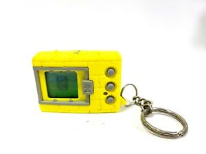 Original 1997 Digimon Tamagotchi Virtual Pet Keychain Neon Yellow Digivice.