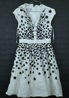 Kay Unger New York Women's Sleeveless Polka Dot Back Zip Casual Dress Sz 6