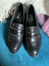 Dune Black Leather Loafers Size 5