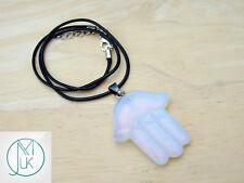 Opalite Manmade Gemstone Hamsa Pendant Necklace Fatima Hand Chakra Healing