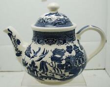 """6.5"""" CHURCHILL BLUE AND WHITE TEAPOT MADE IN ENGLAND"""