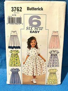 Butterick Sewing Pattern Girls Dresses Size 6-7-8