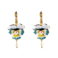 Gold Plated Enamel Butterfly Orchid Pearl Drop Dangle Earrings EH0607