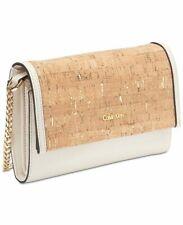 Calvin Klein Faye Cork Leather & Suede Crossbody Flap Messenger Clutch