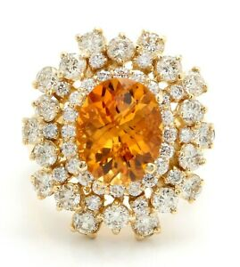5.60 Carat Natural Citrine and Diamonds 14K Solid Yellow Gold Women's Ring