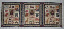 NOAH'S ARK Animals ~ 3 Squares ~ Pillow Quilt Cheater Fabric Panel