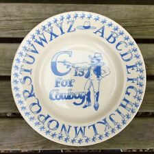 "EMMA BRIDGEWATER rare original . C is for Cowboy . 8-1/2"" PLATE . Alphabet"