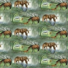 Fabric Western Horses Grazing Willow Trees on Cotton By The 1/4 Yard BIN