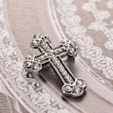 Gothic Silver Tone Cross Brooch Punk Crystals Breastpin Vintage Gadgets Jewelry