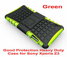 Green Heavy Duty Strong Tradesman TPU Hard Case Cover Stand For Sony Xperia Z3