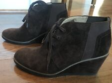 FRANCO SARTO ARMELLE Brown Suede Leather Wedge boots Ankle size 8 / 38