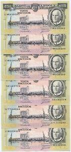 RARE PORTUGAL - ANGOLA BANKNOTE LOT - 20 ESCUDOS X 6 - 1962 - AU/UNC