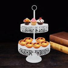 Metal Cake Holder Cupcake Stand 2Tier Birthday Wedding Party Display White