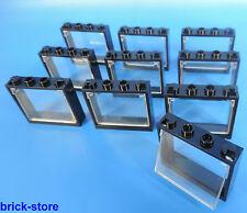 LEGO® Fenster 1x4x3 Rahmen schwarz / mit glaseinsatz transparent klar / 10 Stück