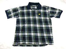 90's Augusta National Masters Plaid Polo Shirt Sz Large Slazenger 100% Cotton