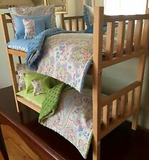 Doll Bunk Bed & 10PC Bedding With Mattress For 18 Inch Girl Doll American Made