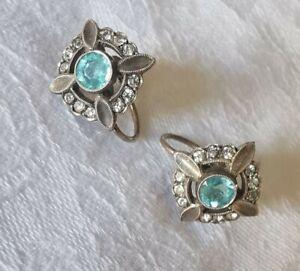Vintage Blue Glass Art Deco Sterling Silver Screw On Earrings