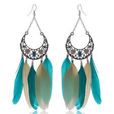 Women Charm Fashion Blue Feather Earrings Tassel Dangle Eardrop Hook Jewelry
