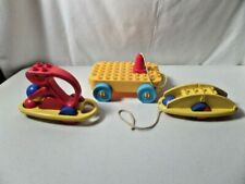 Vintage Lego Duplo Rattle Squirrel, Skateboard +2 Other Pull Toys - Lot of 4