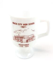 Beach City High School 1927 Bicentennial Footed Milk Glass Coffee Mug Pedestal