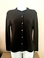 Neiman Marcus Black Slim Ribbed CASHMERE Cardigan Sweater Sz Large