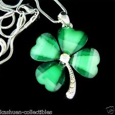 Irish w Swarovski Crystal St Patricks Day ~Lucky 4 Leaf CLOVER SHAMROCK Necklace