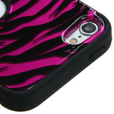 iPod Touch 5th / 6th Gen -Pink Zebra Stripes Hard & Soft Rubber High Impact Case
