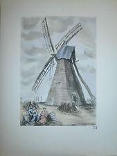 Gravure moulin a vent par P. Valade Nord Moulin de Savy Berlette Pas de Calais