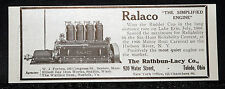 1907 OLD MAGAZINE PRINT AD, RATHBUN-LACY RALACO MARINE, BOAT ENGINE, MOST QUIET!