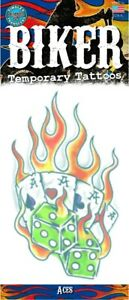 Flaming Aces Dice Biker Temporary Tattoo FX Costume Accessory NEW