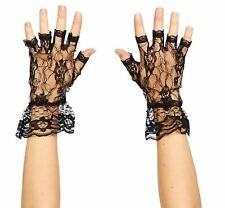 Ladies Black Lace Madonna Fingerless Gloves Halloween Fancy Dress Party Wedding