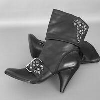 Women's NINE WEST Black Smooth Leather-Studded-Buckle Booties Sz.8.5 USA Zareta