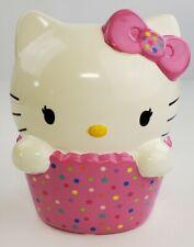 "HELLO KITTY Ceramic Piggy Bank 8"" Tall 2014 Sanrio Pink Cupcake"