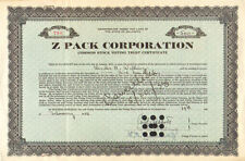 1938 Z Pack Corporation stock certificate