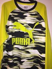 Puma Graphic Ragian Sulphur Spring-Black-Print Mens Long Sleeve Shirt Xxl